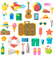 Flat design of summer beach items set vector image vector image