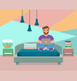 freelancer happy young men working on the bed i vector image vector image