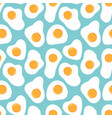 fried eggs seamless pattern on blue background vector image vector image