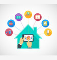 Hand holding mobile phone controls smart home vector image vector image