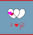 i love you card two heart and lettering romantic vector image vector image