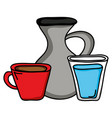 jar canteen with cup beverage and water glass vector image vector image