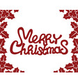 merry christmas red text vector image vector image