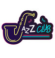 neon jazz club saxophone background image vector image vector image
