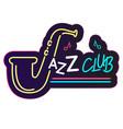 neon jazz club saxophone background image vector image vector image