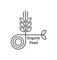 organic food logo with thin line wheat ears vector image vector image