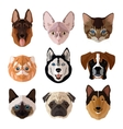 Pets portrait flat icon set vector image