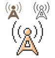 pixel icon radio repeater in three variants vector image vector image
