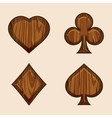 set wooden icons of playings cards vector image vector image