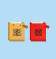 shopping bag icons with qr code vector image