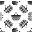 shopping basket icon seamless pattern on white vector image