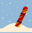 snowboard standing in snow vector image