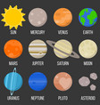 solar system planet flat design icon vector image vector image