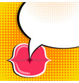 speech bubble and red lips pop art comic style vector image vector image