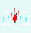 superhero businessman flying up to target are vector image vector image