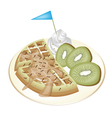 Tradition Waffle with Kiwi and Whipped Cream vector image