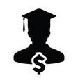 university loan icon male person profile avatar vector image