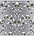 vintage 3d floral damask seamless pattern vector image vector image