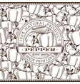 vintage pepper label on seamless pattern vector image vector image