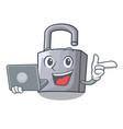 with laptop character padlock on the wooden door vector image