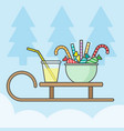 wooden sleigh with sweets and drink for christmas vector image