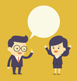 Business people talk with bubble speech vector image