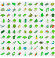 100 green icons set isometric 3d style vector image vector image