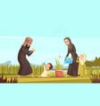 arab family life cartoon poster vector image vector image