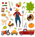 big farm cartoon set vector image
