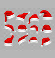 big set of realistic santa hats isolated on vector image