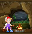 boy is camping and burning sausage vector image vector image