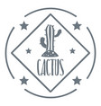 cactus logo vintage style vector image