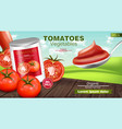 canned tomatoes realistic mock up product vector image