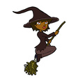 comic cartoon witch riding broomstick vector image vector image