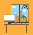 computer desk workplace vector image vector image