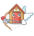 cupid cartoon funny dog house with dish vector image vector image
