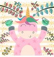 cute unicorn in the magic forest vector image vector image