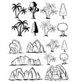 doodles nature set with trees and rocks vector image vector image