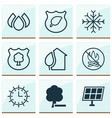 ecology icons set collection of snow home sun vector image vector image