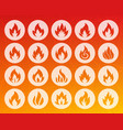 fire shape carved flat icons set vector image vector image