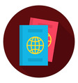 flat passport documents circle icon vector image