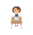 flat schoolgirl sitting at desk isolated vector image