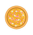 freshly baked pizza with ham mushrooms and cheese vector image