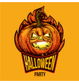 fun halloween engraved logo vector image vector image