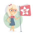 girl puts five stars online reviews rating vector image