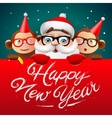 Happy New Year card with Santa Claus and monkeys vector image vector image