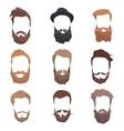Hipster detailed hair and beards set Fashion vector image