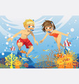 kids swimming underwater vector image