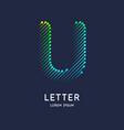 letter u latin alphabet display vector image