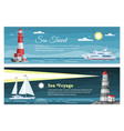 lighthouse sea travel banners set vector image vector image